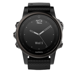 Спортивные часы FENIX 5S SAPPHIRE черные с черным ремешком